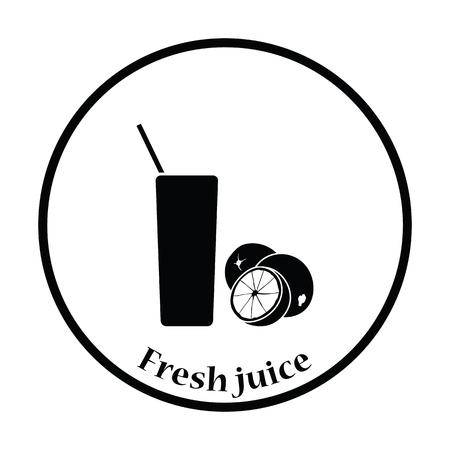 orange juice glass: Icon of Orange juice glass. Thin circle design. Vector illustration.