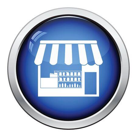 Tent shop icon. Glossy button design. Vector illustration.