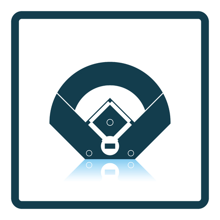 baseball stadium: Baseball field aerial view icon. Shadow reflection design. Vector illustration.