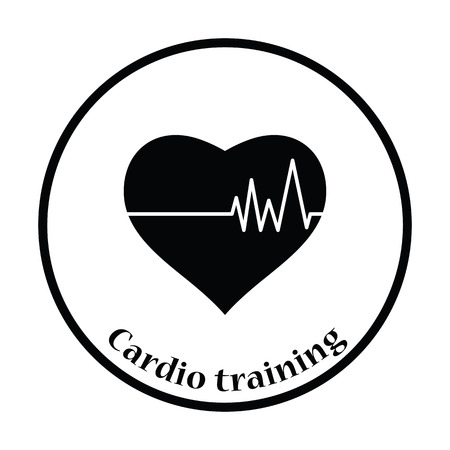 cardio: Icon of Heart with cardio diagram. Thin circle design. Vector illustration.