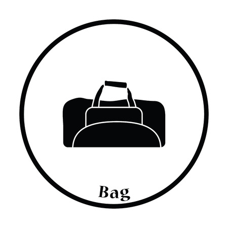 duffel: Icon of Fitness bag. Thin circle design. Vector illustration. Illustration