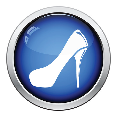 fetish wear: Female shoe with high heel icon. Glossy button design. Vector illustration.
