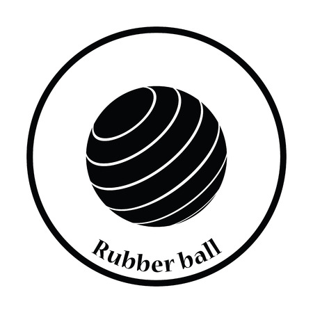 rubber ball: Icon of Fitness rubber ball. Thin circle design. Vector illustration.