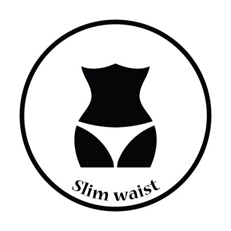 beauty icon: Icon of Slim waist . Thin circle design. Vector illustration.