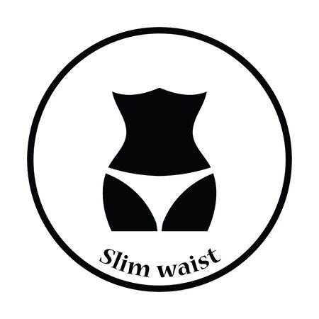 Icon of Slim waist . Thin circle design. Vector illustration.