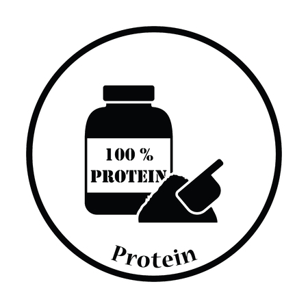 gainer: Icon of Protein conteiner. Thin circle design. Vector illustration.