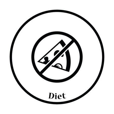 bad habit: Prohibited pizza icon. Thin circle design. Vector illustration.
