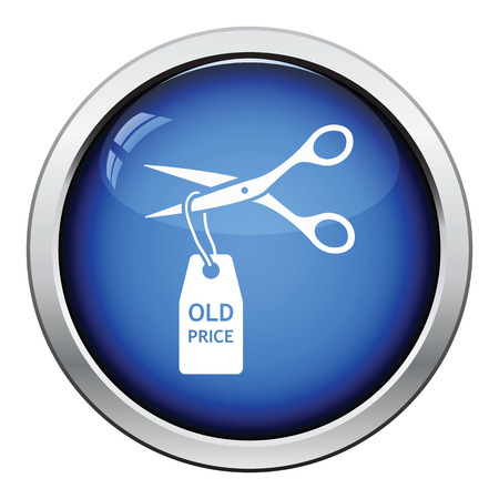 cost reduction: Scissors cut old price tag icon. Glossy button design. Vector illustration.