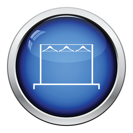 clothes rail: Clothing rail with hangers icon. Glossy button design. Vector illustration.
