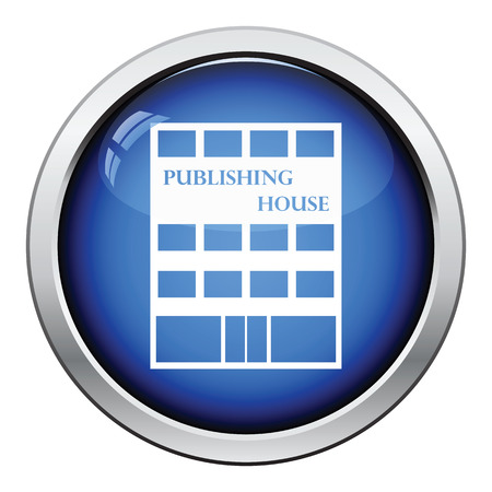 Publishing house icon. Glossy button design. Vector illustration.