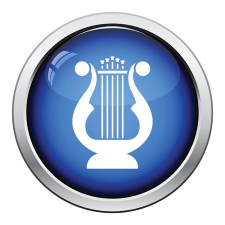 lyre: Lyre icon. Glossy button design. Vector illustration. Illustration