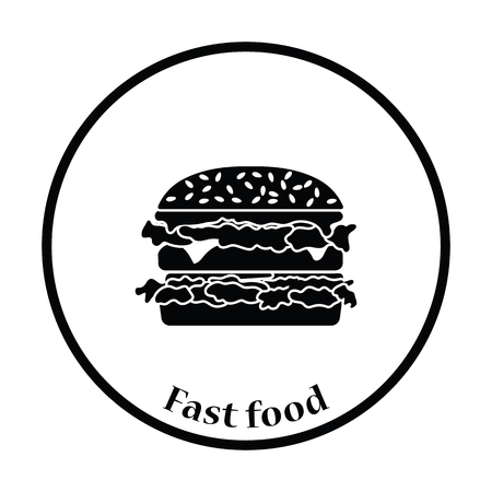 mustard seed: Hamburger icon. Thin circle design. Vector illustration. Illustration