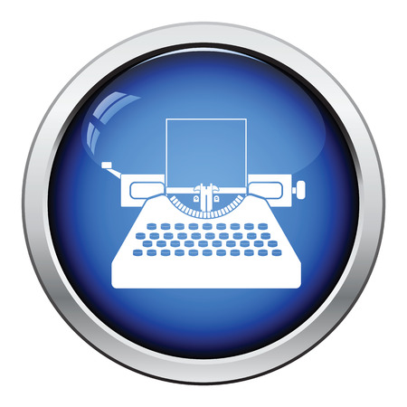 typewriting machine: Typewriter icon. Glossy button design. Vector illustration.