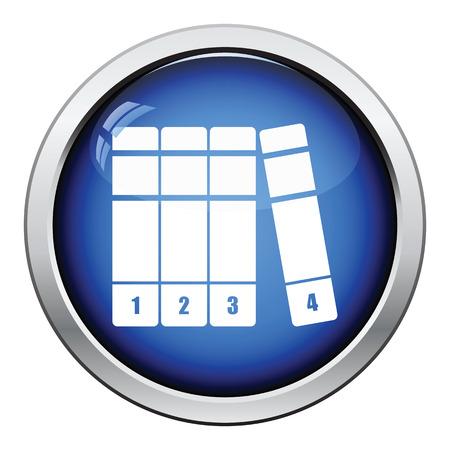volumes: Books volumes icon. Glossy button design. Vector illustration.
