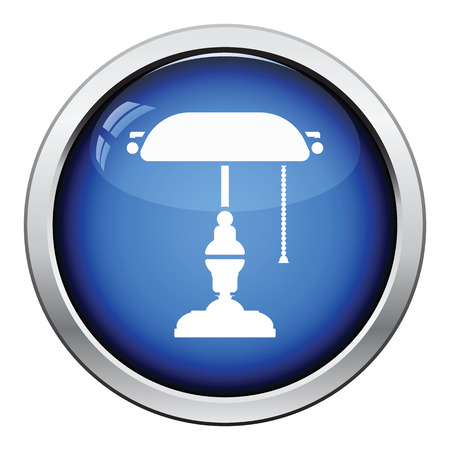 classic authors: Writers lamp icon. Glossy button design. Vector illustration. Illustration