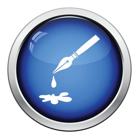 blot: Fountain pen with blot icon. Glossy button design. Vector illustration. Illustration