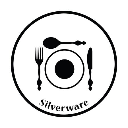 silverware: Silverware and plate icon. Thin circle design. Vector illustration. Illustration
