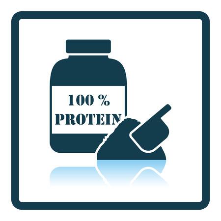 gainer: Icon of Protein conteiner. Shadow reflection design. Vector illustration. Illustration