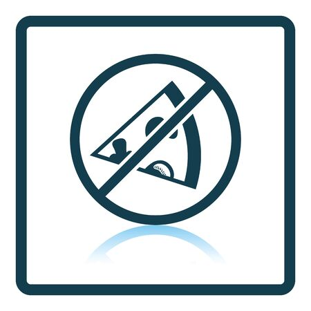 prohibited: Prohibited pizza icon. Shadow reflection design. Vector illustration. Illustration