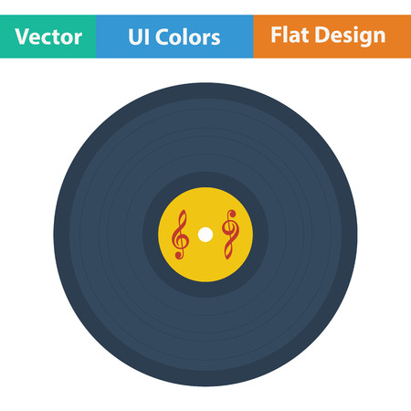 analogue: Analogue record icon. Flat color design. Vector illustration.