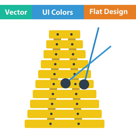 xilofono: icono xilófono. diseño de color plano. Ilustración del vector.