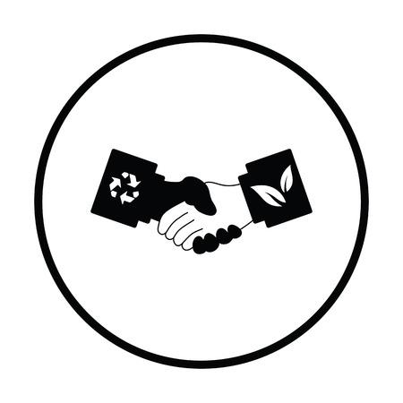 manos estrechadas: icono de apretones de manos ecol�gica. dise�o del c�rculo delgada. Ilustraci�n del vector.