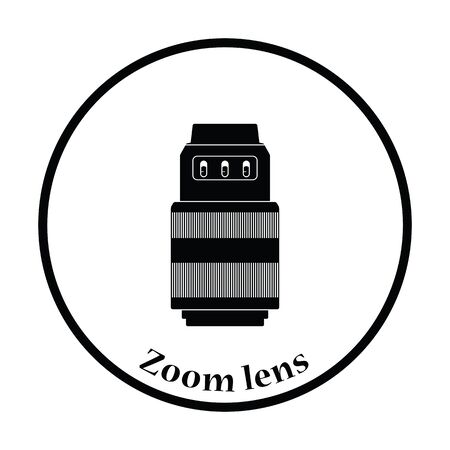stabilizer: Icon of photo camera zoom lens. Thin circle design. Vector illustration.