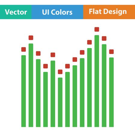 graphic equalizer: Graphic equalizer icon. Flat color design. Vector illustration.