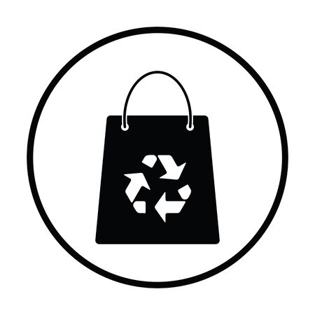 ecological: Shopping bag with recycle sign icon. Thin circle design. Vector illustration. Illustration