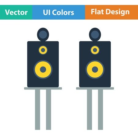 party system: Audio system speakers icon. Flat color design. Vector illustration.