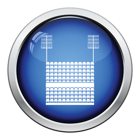 outdoor seating: Stadium tribune with seats and light mast icon. Glossy button design. Vector illustration. Illustration