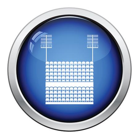 ligh: Stadium tribune with seats and light mast icon. Glossy button design. Vector illustration. Illustration