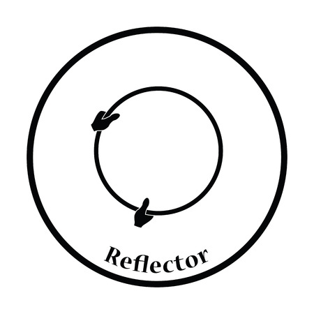 reflector: Icon of hand holding photography reflector. Thin circle design. Vector illustration.