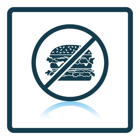 prohibido: Icono de hamburguesa Prohibida. diseño de la sombra reflexión. Ilustración del vector. Vectores