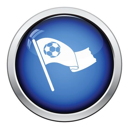 circle icon: Football fans waving flag with soccer ball icon. Glossy button design. Vector illustration. Illustration