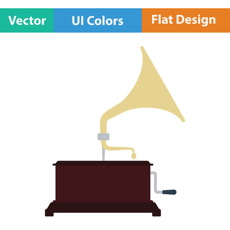 restored: Gramophone icon. Flat color design. Vector illustration. Illustration