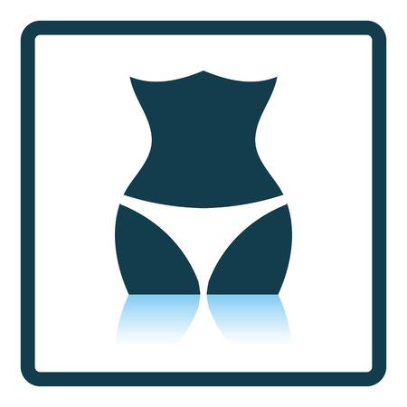 smooth legs: Icon of Slim waist . Shadow reflection design. Vector illustration.