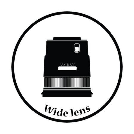 stabilizer: Icon of photo camera wide lens. Thin circle design. Vector illustration.