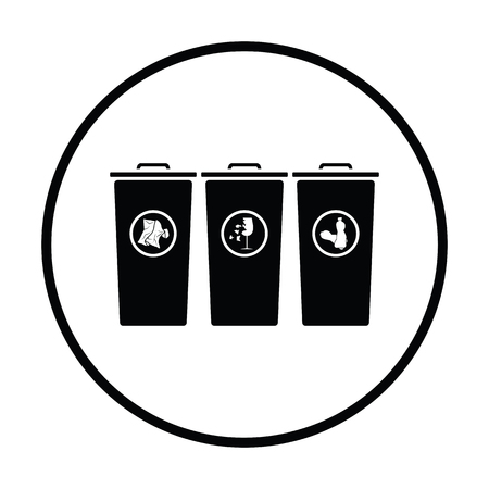 segregate: Garbage containers with separated trash icon. Thin circle design. Vector illustration. Illustration