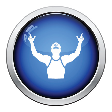 football fan: Football fan with hands up icon. Glossy button design. Vector illustration.