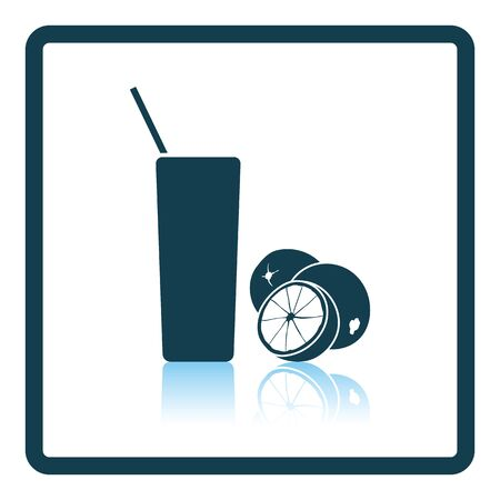 orange juice glass: Icon of Orange juice glass. Shadow reflection design. Vector illustration.