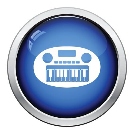 synthesizer: Synthesizer toy icon. Glossy button design. Vector illustration.