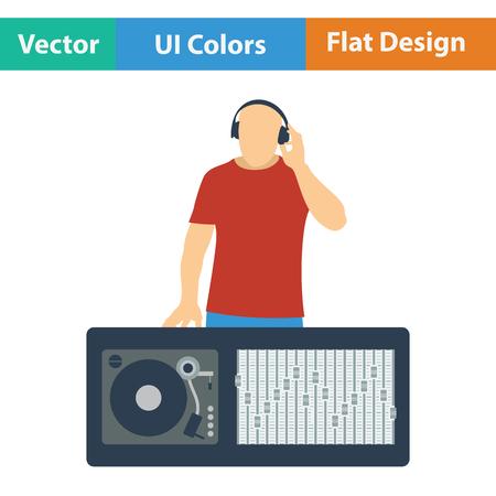 DJ pictogram. Flat kleur ontwerp. Vector illustratie. Vector Illustratie