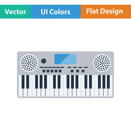 synthesizer: Music synthesizer icon. Flat color design. Vector illustration.