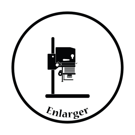enlarger: Icon of photo enlarger. Thin circle design. Vector illustration. Illustration