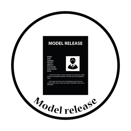 model release: Icon of model release document. Thin circle design. Vector illustration.