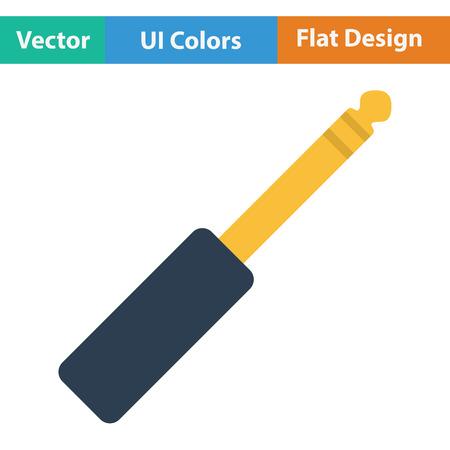 plugin: Music jack plug-in icon. Flat color design. Vector illustration. Illustration