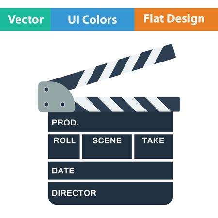 clapperboard: Clapperboard icon. Flat color design. Vector illustration. Illustration