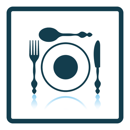 silverware: Silverware and plate icon. Shadow reflection design. Vector illustration.