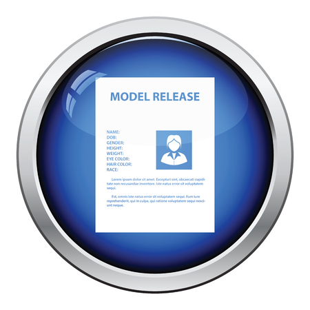 model release: Icon of model release document. Glossy button design. Vector illustration.